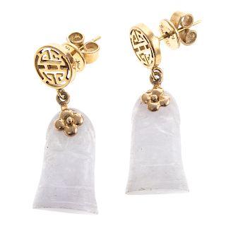A Pair of 14K Gold & Lavender Jade Dangle Earrings