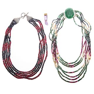 A Pair of Beaded Necklaces & Amethyst Pendant