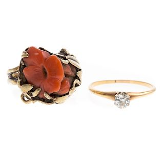 A Vintage Coral Ring & Diamond Solitaire in 14K