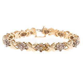 "A Ladies Diamond ""X"" Link Bracelet in 14K"