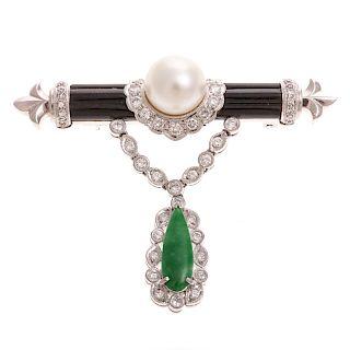 A Stunning Black Onyx, Jade, Pearl & Diamond Pin