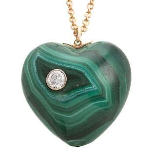 Lady's Malachite & Diamond Heart Pendant Necklace