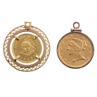 Two Ladies Pendants Featuring Solid Gold Coins