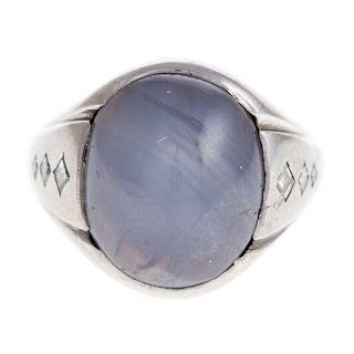 A 18K White Gold Star Sapphire & Diamond Ring