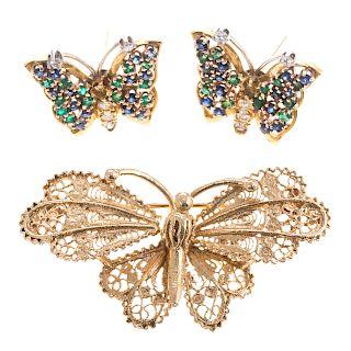 A Ladies Butterfly Earrings & Pin Set in 14K