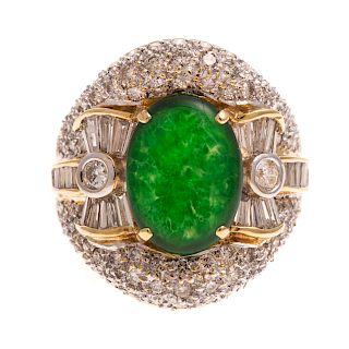 A Ladies Jadeite & Diamond Cocktail Ring in 18K