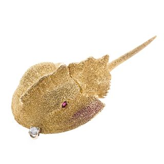 A Ladies 18K Horse Shoe Crab Pin with Diamond