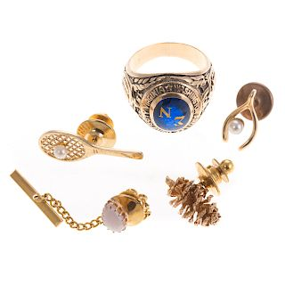 A Collection of Tie Tacks & Gent's Class Ring