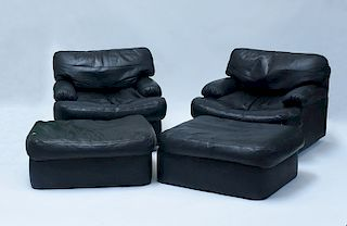 Pair black leather chairs and ottomans
