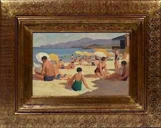 Paul Delormoz (1895-1980). Oil on hard board of bathers at the beach