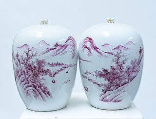 Pair 19th C. Chinese aubergine decorated jars with covers