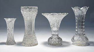 Four American brilliant period cut glass vases