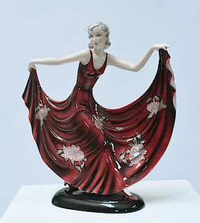 Goldscheider Art Deco figure of dancing woman in outstretched red dress