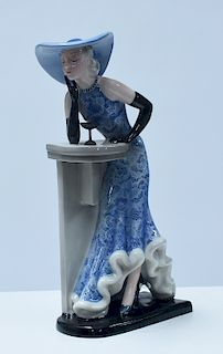 Goldscheider figure of Art Deco woman in blue hat