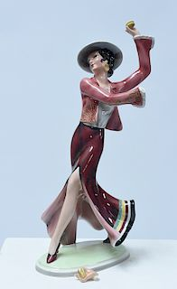 Goldscheider figure of Art Deco woman in flamenco attire
