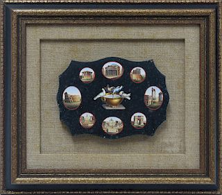 19th C. Italian micro-mosaic plaque with nine scenes of Rome