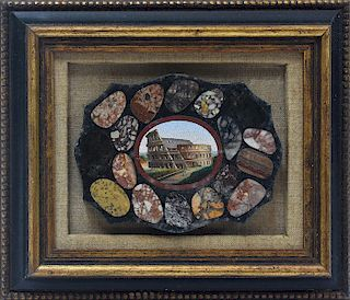 19th C. Italian micro-mosaic plaque of the Colosseum