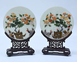 Good pair of Chinese hardstone table screens