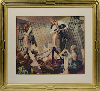 John Rutherford Boyd, Illustrator (Am. 1884-1951) watercolor on paper of three male window dressers putting lingerie on female mannequin