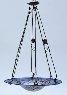 Charder cameo glass Art Deco hanging light fixture
