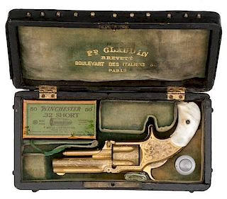 Engraved and Gold-Washed Smith and Wesson Model One and One-Half Second Issue Spur Trigger Revolver