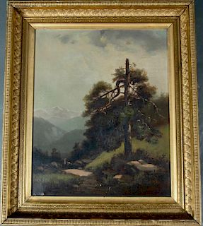 19thc.American School Oil, Spur of the Sierra Mountains
