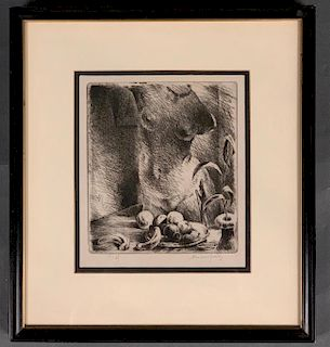 Adolphe Marie Beaufrere Etching, Still Life with Nude