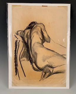 Henry Keller Charcoal Drawing of a Nude