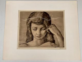 Frederic Taubes Etching, Girl Combing her Hair