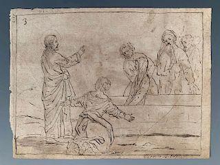Claudio Ridolfi Drawing, The Awakening of Tabitha