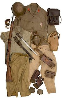 **Japanese WWII Uniform, Field Gear and Rifle With Bayonet
