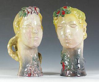 Pair of Glazed Ceramic Heads by Walter Sinz