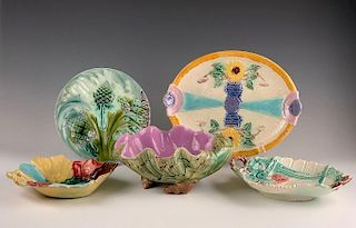 Lot of Five Majolica Dishes