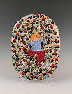 Glazed Ceramic Platter by Renate Nacinovic