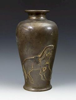 Japanese Bronze Vase with Horse and Boys