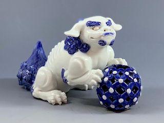 Japanese Hirado Blue and White Porcelain Shi Shi Dog