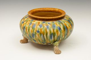 Chinese Sancai Glaze Footed Jar, Tang Dynasty Style
