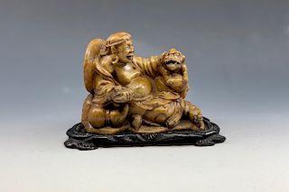 Carved Hardstone Figural Group
