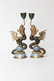 A PAIR OF CLOISONNE CANDLESTICKS IN THE FORM OF DRAGON