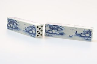 PAIR OF BLUE AND WHITE SCROLL WEIGHTS