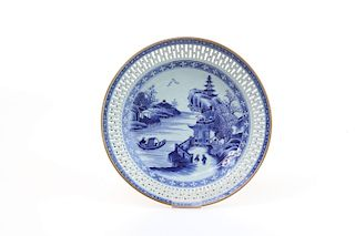 AN OPENWORK BLUE WHITE 'LANDSCAPE' PORCELAIN PLATE