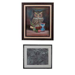 Lote de 2 obras pictóricas. Firma sin identificar y El Cabañas. Búhos. Firmados en el ángulo inferior derecho. Uno fechado 2008.
