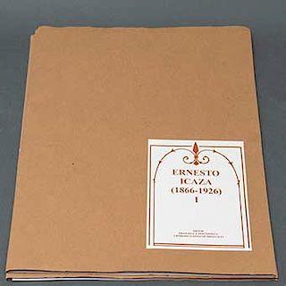 Ernesto Icaza. (México, 1866 - 1926) Carpeta con 12 reproducciones y 2 láminas de introducción. Impresión en offset sobre papel....