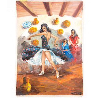 José Puente. Escena flamenca. Firmado en el ángulo inferior izquierdo. Óleo sobre tela.  Dimensiones 95 x 65 cm