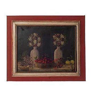 Firmado F. Rodríguez. México, Siglo XIX. Bodegón con flores y frutas. Óleo sobre tela.
