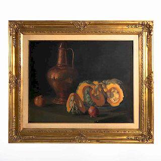 Anónimo. Bodegón de calabazas. Óleo sobre tela. Enmarcado en madera de madera dorado.