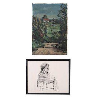 Lote de 2 obras. Conta de: a) Patricio Robles Gil. Impresión en papel. Enmarcado en madera tallada. Dimensiones: 43 x 54 cm.<R...