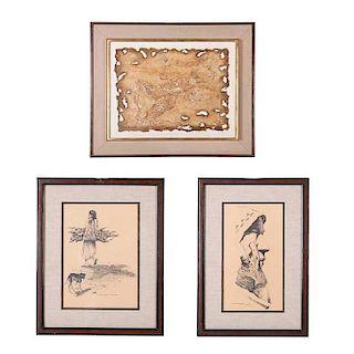 Lote de 3 obras. Firmadas Galindo. Consta de: niña con perro, perfil de mujer y figura masculina. 3 dibujos uno en metal. Enmarcados.