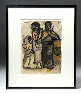Framed 20th C. German Expressionist Mixed Media