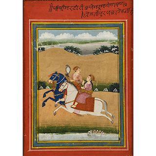 INDIAN ILLUSTRATION OF A HUNT SCENE